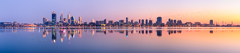 Perth and the Swan River at Sunrise, 26th August 2012
