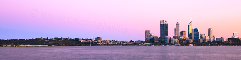 Perth and the Swan River at Sunrise, 31st August 2012