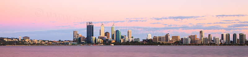 Perth and the Swan River at Sunrise, 9th December 2012