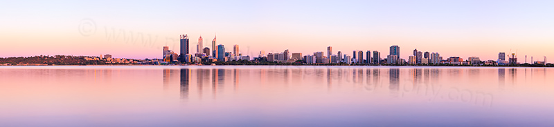 Perth and the Swan River at Sunrise, 31st December 2012