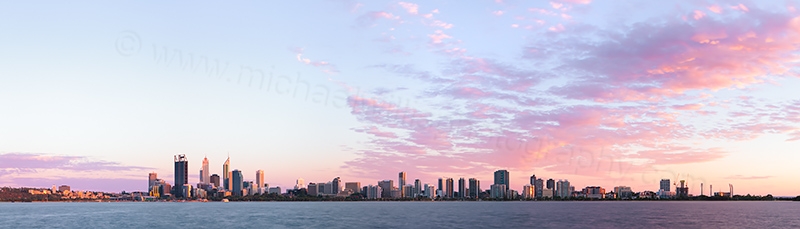 Perth and the Swan River at Sunrise, 1st January 2013