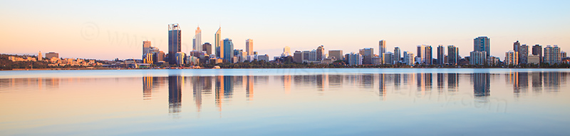 Perth and the Swan River at Sunrise, 10th January 2013