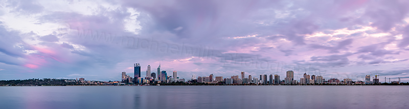 Perth and the Swan River at Sunrise, 13th January 2013