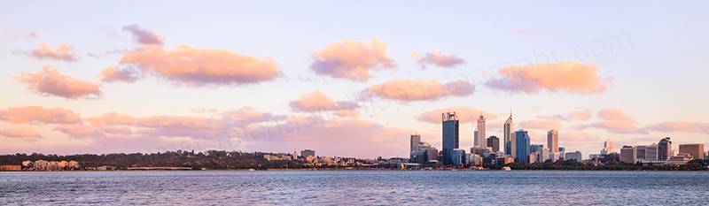 Perth and the Swan River at Sunrise, 17th January 2013