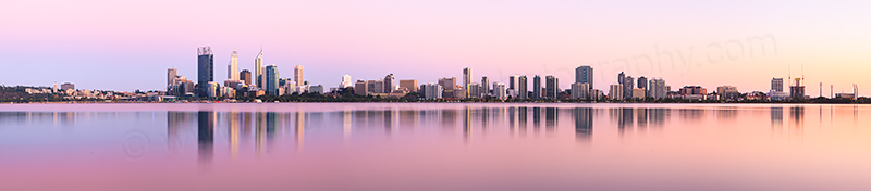 Perth and the Swan River at Sunrise, 21st January 2013