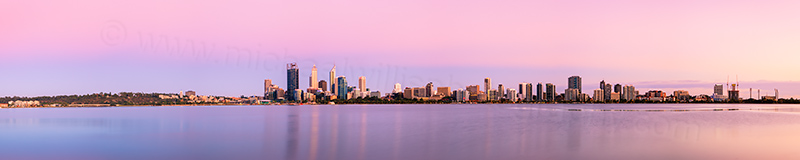 Perth and the Swan River at Sunrise, 23rd January 2013