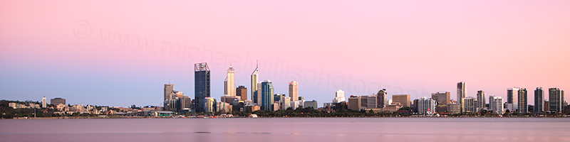 Perth and the Swan River at Sunrise, 25th January 2013