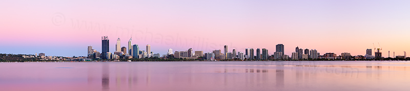 Perth and the Swan River at Sunrise, 27th January 2013