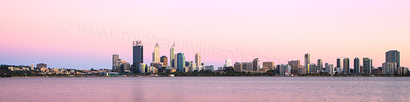 Perth and the Swan River at Sunrise, 28th January 2013