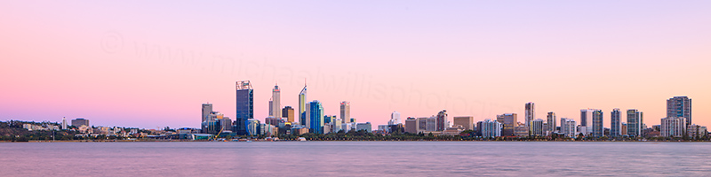 Perth and the Swan River at Sunrise, 13th March 2013