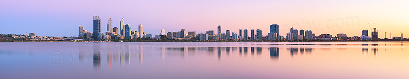 Perth and the Swan River at Sunrise, 17th March 2013