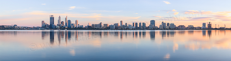 Perth and the Swan River at Sunrise, 25th March 2013