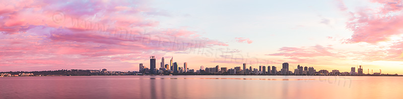 Perth and the Swan River at Sunrise, 10th April 2013