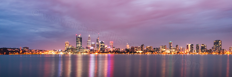Perth and the Swan River at Sunrise, 17th April 2013