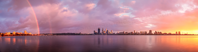 Rainbow over Perth and the Swan River at Sunrise, 9th June 2013