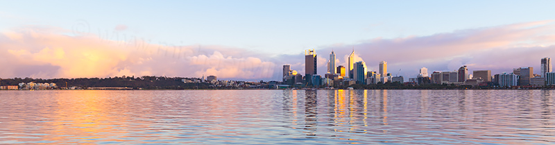 Perth and The Swan River at Sunrise, 9th August 2013