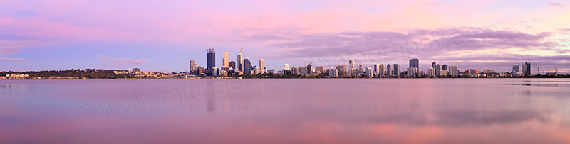 Perth and the Swan River at Sunrise, 25th December 2013