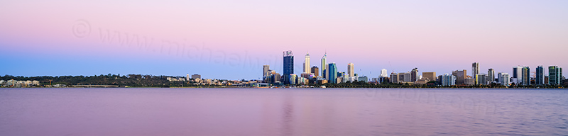 Perth and the Swan River at Sunrise, 28th December 2013