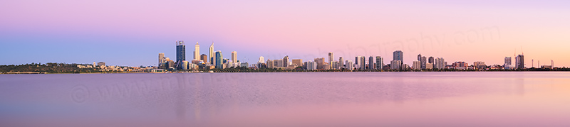 Perth and the Swan River at Sunrise, 10th January 2014