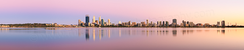 Perth and the Swan River at Sunrise, 18th January 2014
