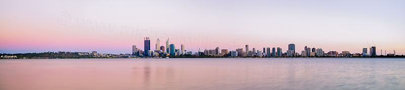 Perth and the Swan River at Sunrise, 21st January 2014