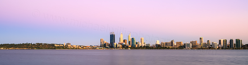 Perth and the Swan River at Sunrise, 29th January 2014