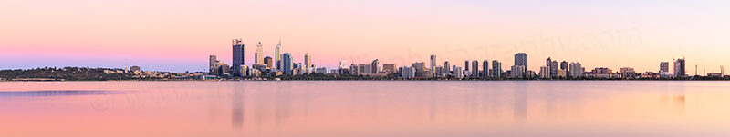 Perth and the Swan River at Sunrise, 8th February 2014