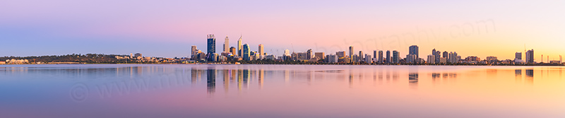 Perth and the Swan River at Sunrise, 17th March 2014