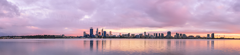Perth and the Swan River at Sunrise, 31st March 2014