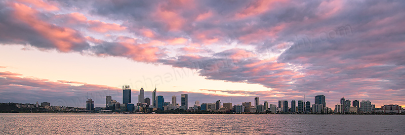 Perth and the Swan River at Sunrise, 24th June 2016