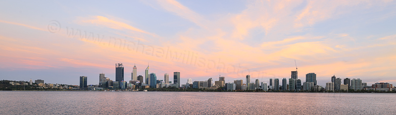 Perth and the Swan River at Sunrise, 8th February 2017