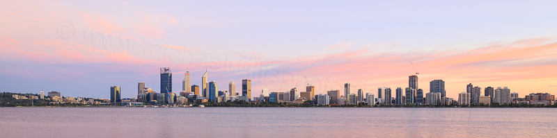 Perth and the Swan River at Sunrise, 11th March 2017