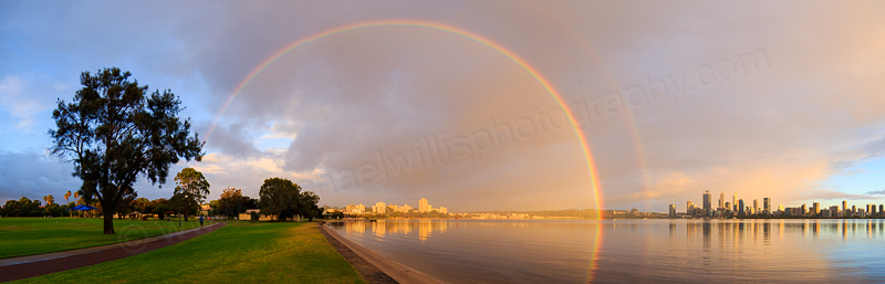 Rainbow Over Perth and the Swan River at Sunrise, 23rd March 2017