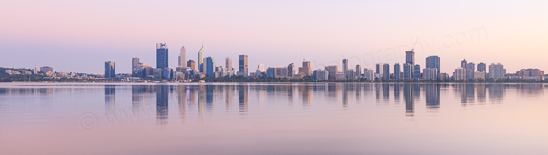 Perth and the Swan River at Sunrise, 25th March 2017