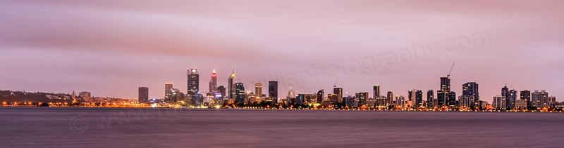 Perth and the Swan River at Sunrise, 26th March 2017