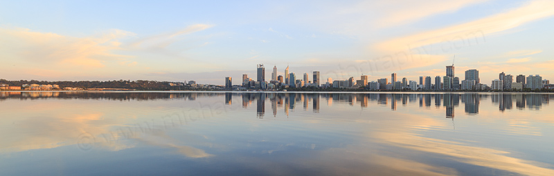 Perth and the Swan River at Sunrise, 28th March 2017