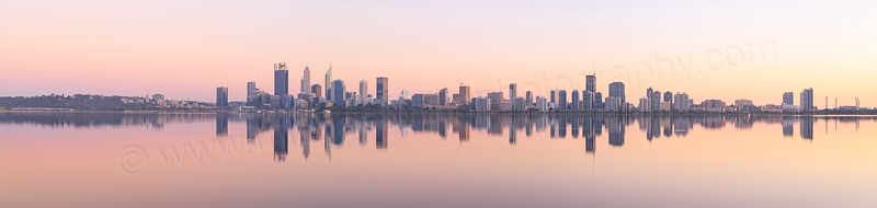 Perth and the Swan River at Sunrise, 31st March 2017
