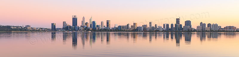 Perth and the Swan River at Sunrise, 8th April 2017