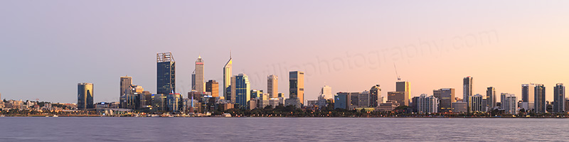Perth and the Swan River at Sunrise, 9th April 2017