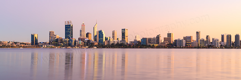 Perth and the Swan River at Sunrise, 10th April 2017