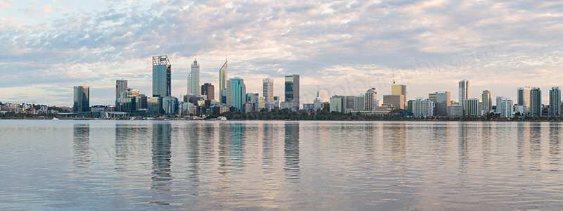 Perth and the Swan River at Sunrise, 14th April 2017