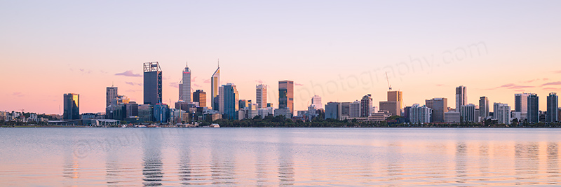 Perth and the Swan River at Sunrise, 16th April 2017