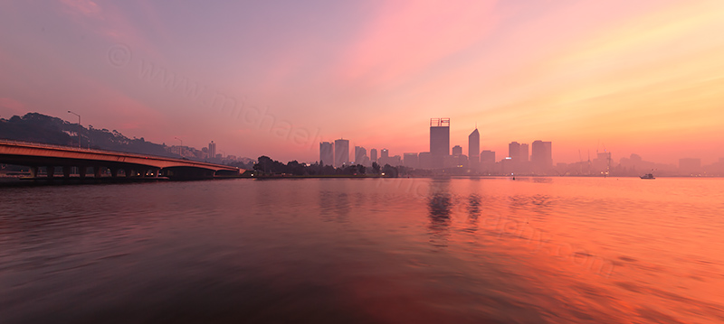 Perth and the Swan River at Sunrise, 13th May 2017