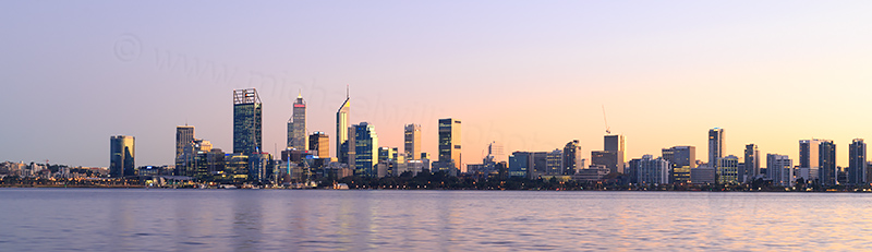 Perth and the Swan River at Sunrise, 25th May 2017