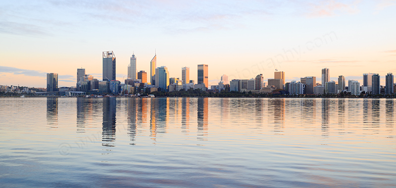 Perth and the Swan River at Sunrise, 27th May 2017