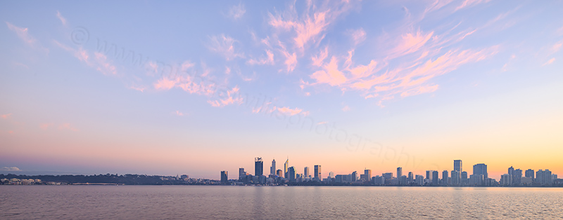 Perth and the Swan River at Sunrise, 2nd June 2017