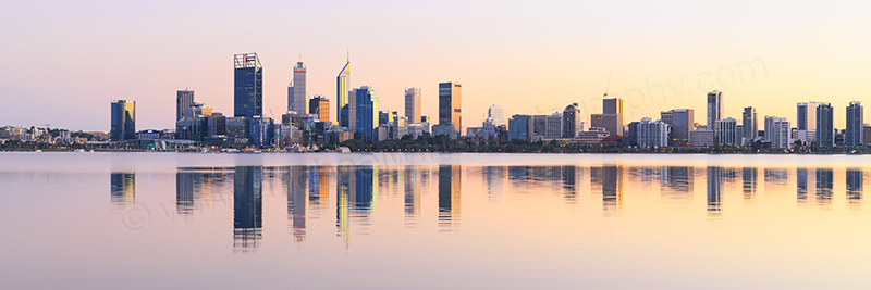Perth and the Swan River at Sunrise, 4th June 2017