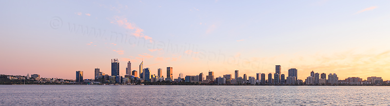 Perth and the Swan River at Sunrise, 6th June 2017