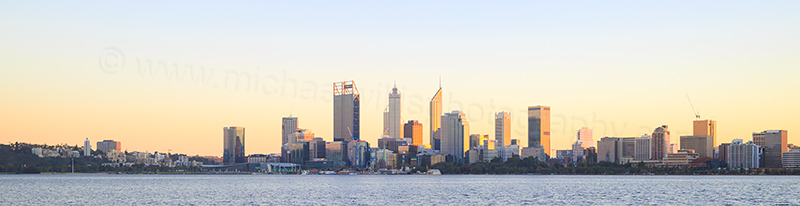 Perth and the Swan River at Sunrise, 8th June 2017