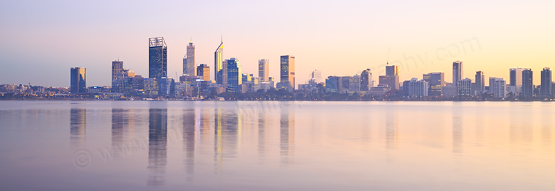 Perth and the Swan River at Sunrise, 16th June 2017